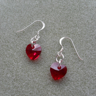 Red Crystal Heart Earrings With crystal Hearts From Swarovski Valentines Gift