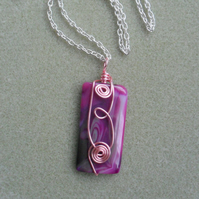 Deep pink Wire Wrapped Agate Pendant