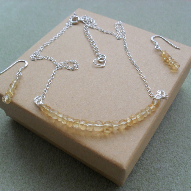 Citrine Sterling Silver Necklace and Earring Set
