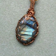 Labradorite Pendant Wire Wrapped Bronze