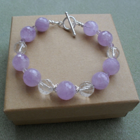 Lilac Amethyst and Clear Quartz Sterling Silver Bracelet