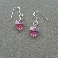 Pink Crystal Heart Earring With Crystal Hearts From Swarovski
