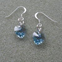 Blue Crystal Heart Earrings With Crystal Hearts From Swarovski