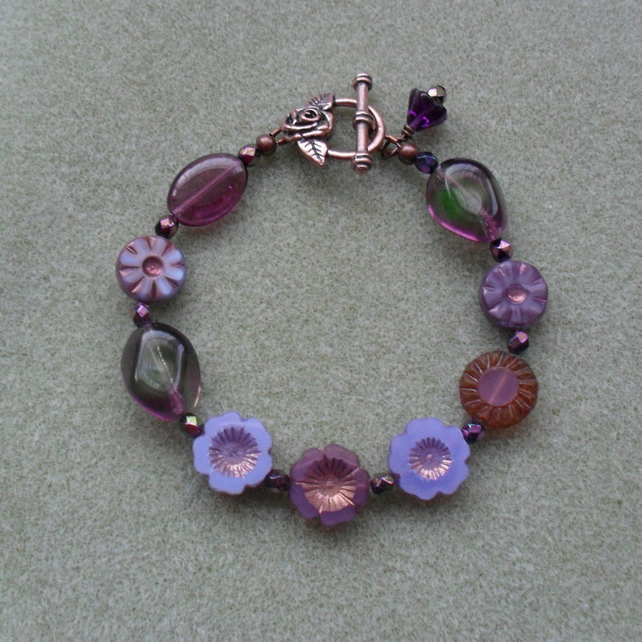 Shades Of Purple Czech Glass Beaded Flower Bracelet