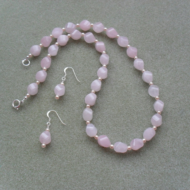 Sterling Silver Rose Quartz and Glass Pearl Necklace and Earring Set