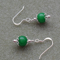 Sterling Silver Emerald Green Quartzite Drop Earrings