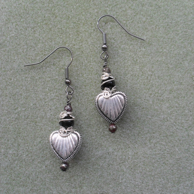 Heart Earrings With Black Onyx Valentines Gift