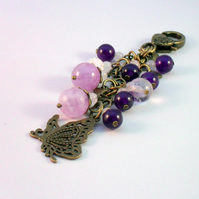Bag Charm With Purple Gemstones and Butterfly Charm