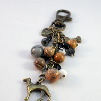 Greyhound Bag Charm with Jasper and Agate Semi Precious Gemstones Bronze Tone