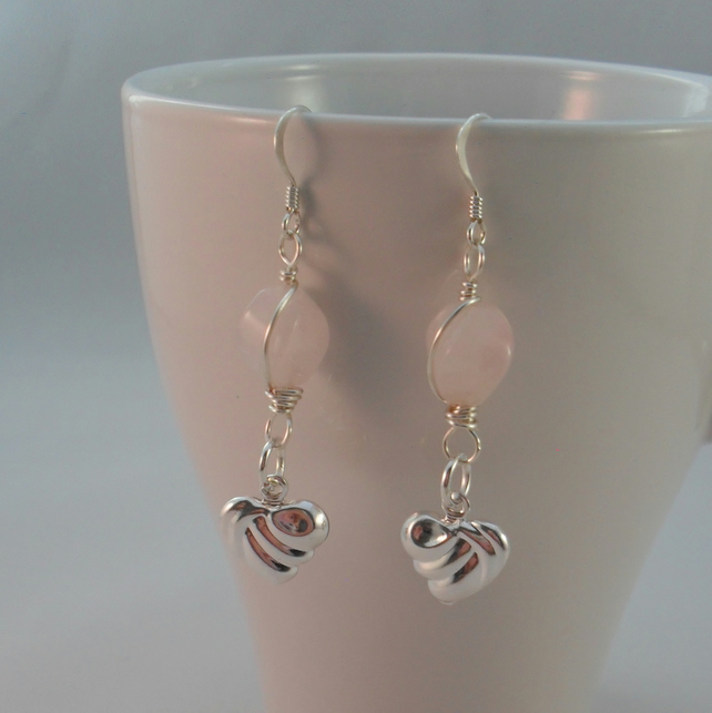 Heart Drop Earrings With Rose Quartz Sterling Silver Ear Wires