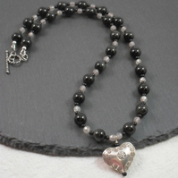 Necklace with Obsidian Agate and Hill Tribe Silver