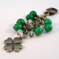 Four Leaf Clover Green Bag Charm