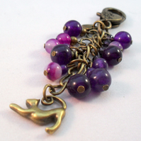 Purple and Bronze Cat Bag Charm