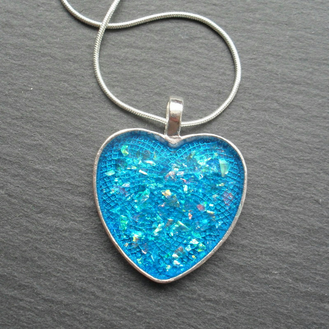 Heart Blue Resin Pendant Valentines Gift