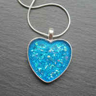 Sale Heart Blue Resin Pendant Now 5 Pounds