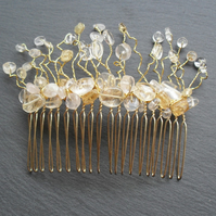SALE Bridal Quartz and Citrine Hair Comb Fascinator HC020