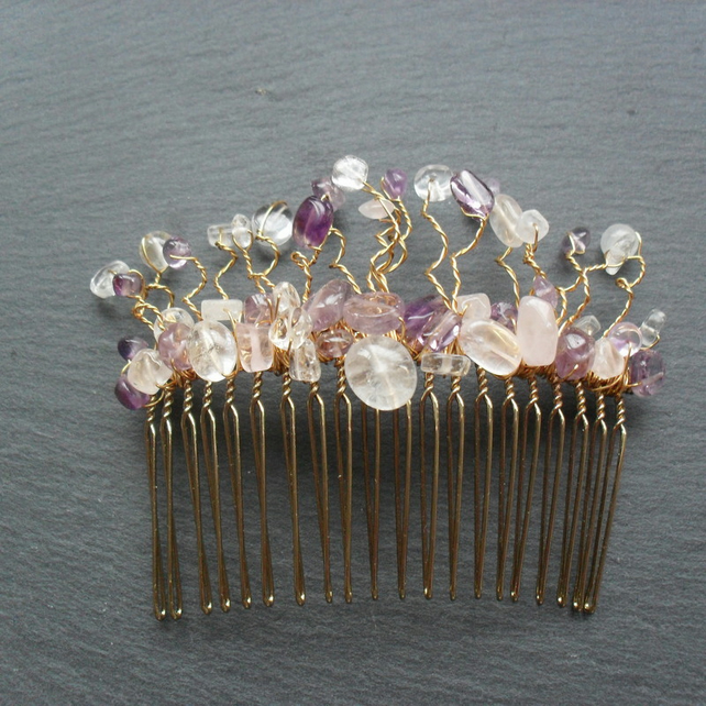 SALE Amethyst and Quartz Hair Comb HC010