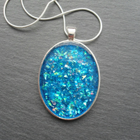 Large Blue Resin Pendant Silver Plate