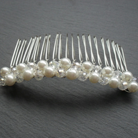 SALE Glass pearl and crystal Hair Comb HC026