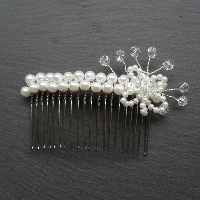 SALE Glass Pearl and Crystal Hair Comb HC008