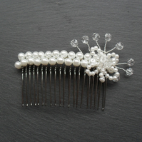 Glass Pearl and Crystal Hair Comb HC008