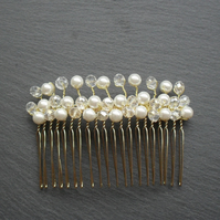 SALE Glass Pearl and crystal Hair Comb