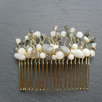 Bridal Labradorite  and Moonstone Hair Comb Fascinator HC028