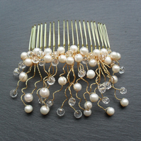 Bridal Fresh water Pearl and Crystal Hair Comb HC002