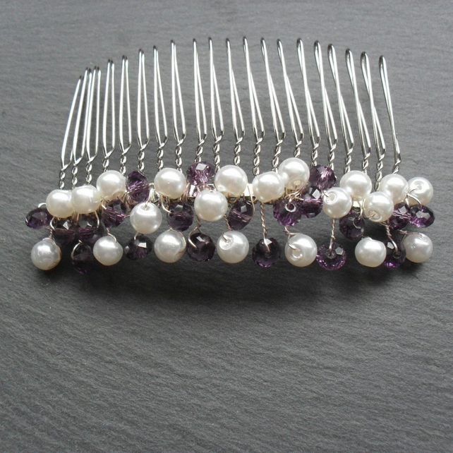 SALE Purple Crystals and White Pearl Hair Comb HC029