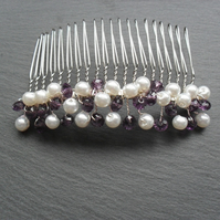 Purple Crystals and White Pearl Hair Comb HC029