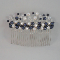 Handmade Navy and White Hair Comb With Pearls and Crystals From Swarovski