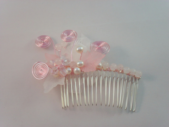 SALE Crystal Flower Hair Comb HC031
