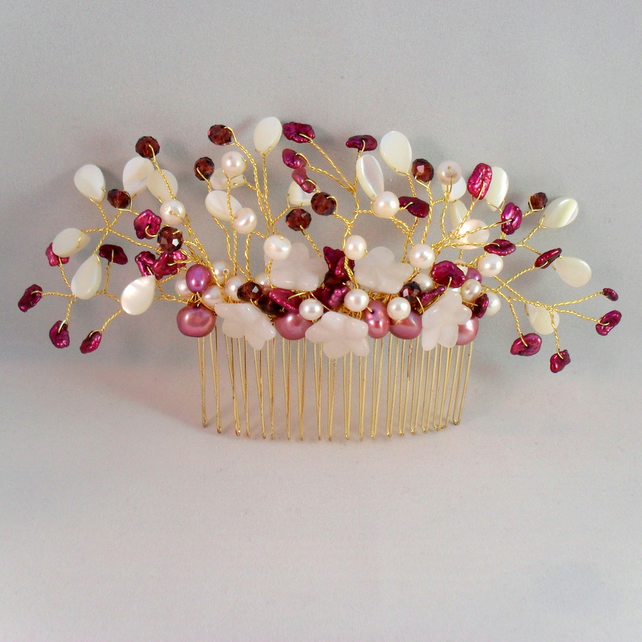 SALE Bridal Keshi Pearl and Gemstone Hair Comb HC001