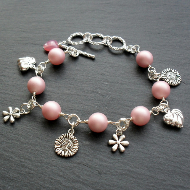 Charm Style Bracelet With Pink Shell Pearl Free P&P in UK