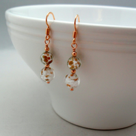 Venetian Murano Glass Rose Gold Vermeil Earrings