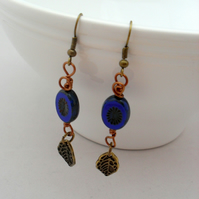 Blue Czech Glass Bronze Tone Earrings