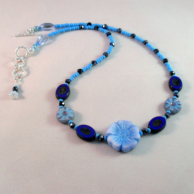 Blue Czech Glass Necklace With Flower Beads