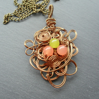 Bronze Wire Pendant With Quartzite Semi Precious Gemstones
