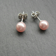 Pink Pearl Sterling Silver Stud Earrings With Crystal Pearls From Swarovski