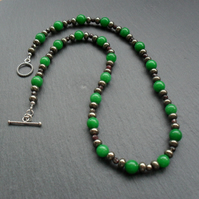 Vintage Style Emerald Green Quartzite Marcasite and Pyrite Necklace