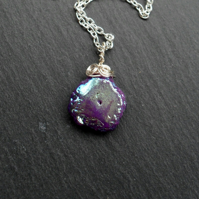 Mystic Coated Quartz Pendant Necklace Gift For Her
