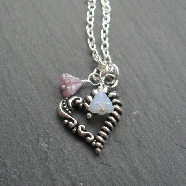 Heart Charm Necklace With Glass Flower Beads