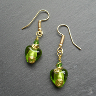 Green Heart Glass Gold Plated Earrings