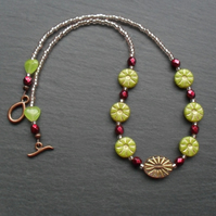 Czech Glass Bead Flower Necklace