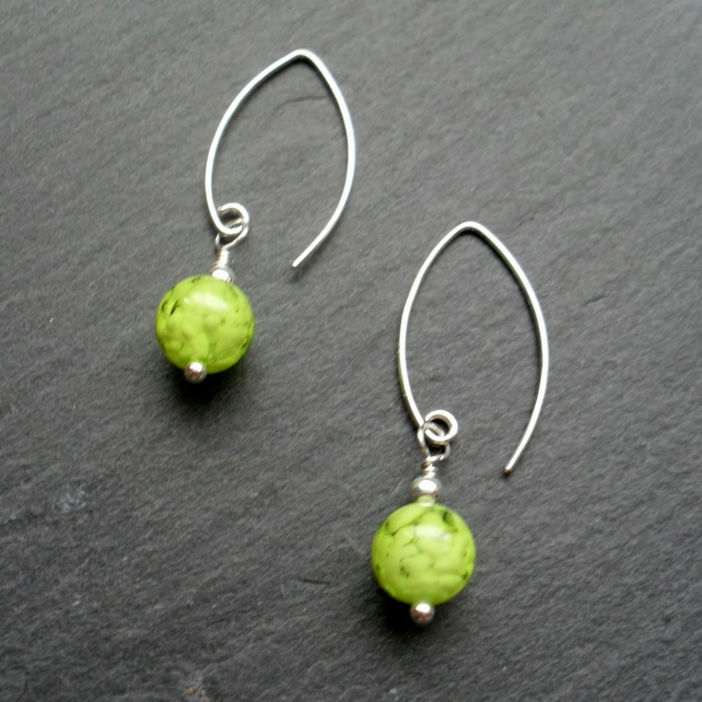 Lime Green Venetian Murano Glass Sterling Silver Earrings