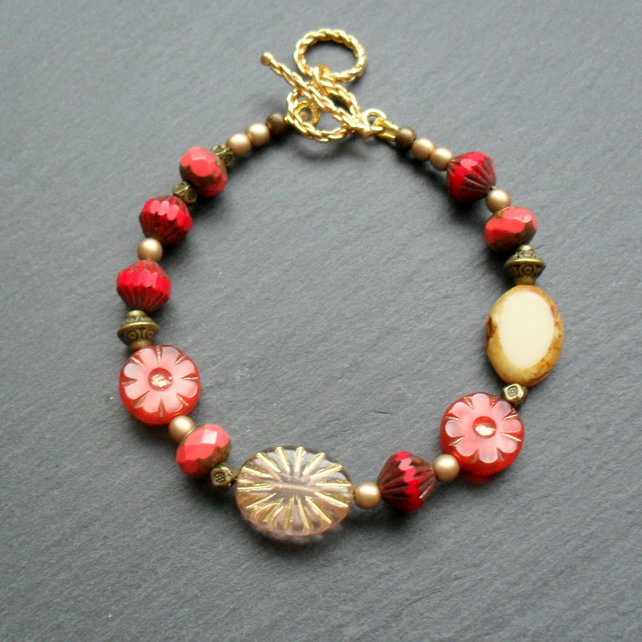 Red and Gold Czech Glass Beaded Bracelet