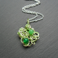 Silver and Green Coloured Wire Wrapped Pendant with Semi Precious Gemstones