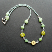Green Czech Glass Beaded Necklace