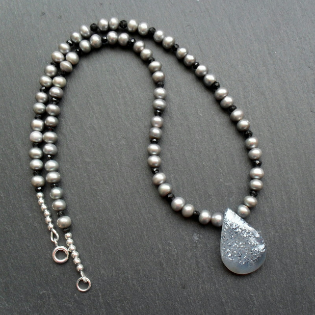 Druzy Agate, FreshWater Cultured Pearl and Spinel Necklace