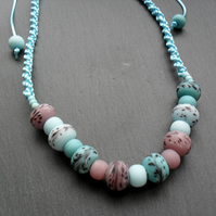 Macram'e Knotted Necklace With Glass Beads In Blue and Mauve Non Metal